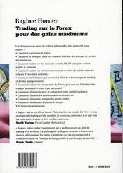 Trading sur le forex pour des gains maximum - 4ème de couverture - Format classique