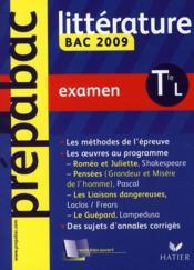 Prépabac ; littérature ; terminale L ; examen (édition 2009) - Couverture - Format classique