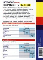 Prépabac ; littérature ; terminale L ; examen (édition 2009) - 4ème de couverture - Format classique
