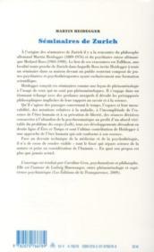 Séminaires de Zurich - 4ème de couverture - Format classique
