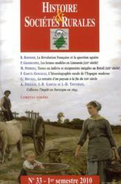 Revue Histoire Et Societes Rurales T.33 - Couverture - Format classique