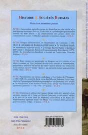 Revue Histoire Et Societes Rurales T.33 - 4ème de couverture - Format classique