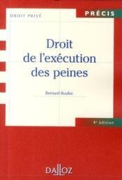 Droit de l'exécution des peines (4e édition) - Couverture - Format classique