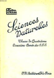SCIENCES NATURELLES, CLASSE DE 4e, ET 2e ANNEE DES EPS - Couverture - Format classique