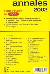 Bac Physique Chimie ; Serie S ; Sujets Et Corriges ; Edition 2002 - 4ème de couverture - Format classique