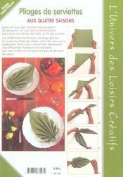 Pliage de serviette - 4ème de couverture - Format classique