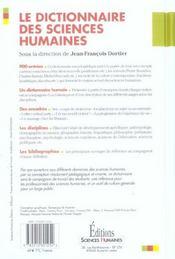 Le dictionnaire des sciences humaines - 4ème de couverture - Format classique