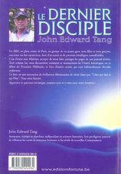 Le dernier disciple - 4ème de couverture - Format classique
