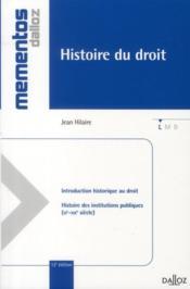 telecharger Histoire du droit – introduction historique au droit – histoire des institutions publiques, XI-XIX siecle (12e edition) livre PDF en ligne gratuit