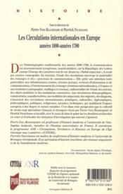 Les circulations internationales en Europe ; années 1680-années 1780 - 4ème de couverture - Format classique