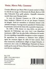 Venise, Marco Polo, Casanova - 4ème de couverture - Format classique