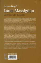Louis Massignon ; la grâce de Bagdad - 4ème de couverture - Format classique