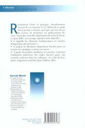Fiscalite Placements Et Reductions D'Impot 2001 - 4ème de couverture - Format classique