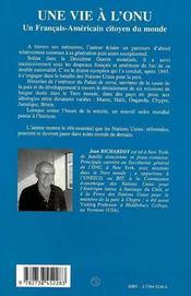 Une Vie A L'Onu, Un Francais-Americain Citoyen Du Monde - 4ème de couverture - Format classique