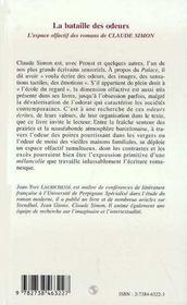 La Bataille Des Odeurs ; L'Espace Olfactif Des Romans De Claude Simon - 4ème de couverture - Format classique