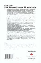 Gestion des ressources humaines (la) - 4ème de couverture - Format classique