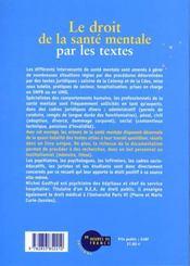 Le Droit De La Sante Mentale Par Les Textes - 4ème de couverture - Format classique
