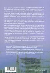 Manuel De Gestion Des Chantiers De Travaux Publics. La Methode. Des Outils - 4ème de couverture - Format classique