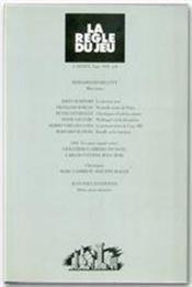 Revue La Regle Du Jeu N.8 - Couverture - Format classique