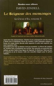 Le cycle d'Ea t.3 ; le seigneur des mensonges - 4ème de couverture - Format classique