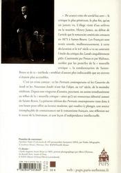 Portraits contemporains, de Sainte Beuve - 4ème de couverture - Format classique