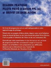 Pilotage d'avion ; livret de progression ppl (a) et brevet de base avion - 4ème de couverture - Format classique