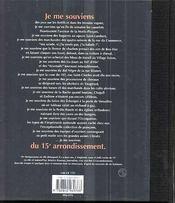 Je me souviens du 15e arrondissement - 4ème de couverture - Format classique