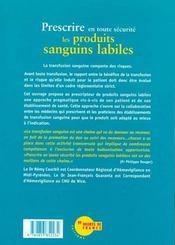 Prescrire En Toute Securite Les Produits Sanguins Labiles - 4ème de couverture - Format classique