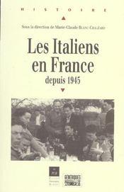 Les italiens en france depuis 1945 [actes du colloque international, 17-19 mai 2001] - Intérieur - Format classique