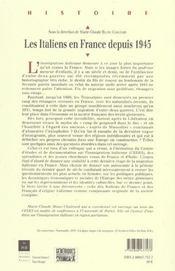 Les italiens en france depuis 1945 [actes du colloque international, 17-19 mai 2001] - 4ème de couverture - Format classique
