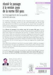 Reussir Le Passage A La Version 2000 De La Norme Iso 9001 - 4ème de couverture - Format classique