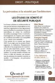Les études de sûreté et de sécurite publique - 4ème de couverture - Format classique