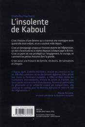L'insolente de Kaboul - 4ème de couverture - Format classique