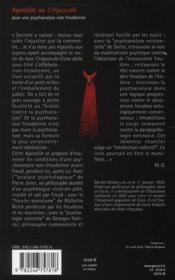 Apostille au crépuscule ; pour une psychanalyse non freudienne - 4ème de couverture - Format classique