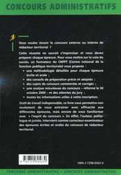 Redacteur Territorial Categorie B Concours Externe Et Interne Fonction Publique Territoriale - 4ème de couverture - Format classique
