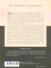 De La Biologie A La Bioethique No40 - 4ème de couverture - Format classique