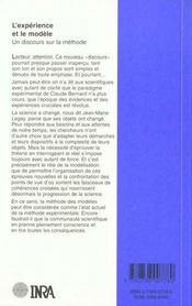 L'expérience et le modèle ; un discours sur la méthode - 4ème de couverture - Format classique