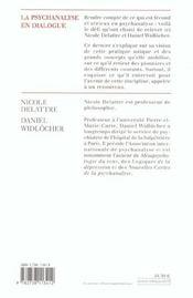 La psychanalyse en dialogue - 4ème de couverture - Format classique