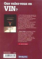 Que valez-vous en vin ? - 4ème de couverture - Format classique