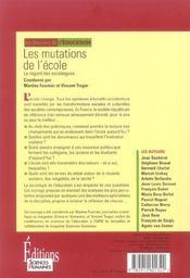 Les mutations de l'école ; le regard des sociologues - 4ème de couverture - Format classique
