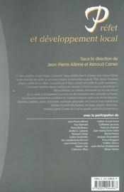 Prefet et developpement local - 1ere ed. - 4ème de couverture - Format classique