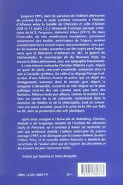 Athenes hellenistique (nouv.ed.) (édition 2006) - 4ème de couverture - Format classique