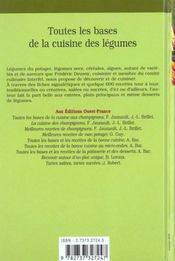 Toutes les bases de la cuisine des legumes - 4ème de couverture - Format classique