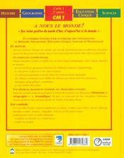 Le Manuel - A Nous Le Monde ! - Cm1 - 4ème de couverture - Format classique