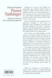 Pierre Taittinger Patron De Presse - 4ème de couverture - Format classique
