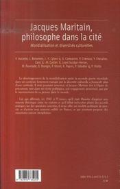 Jacques Maritain, philosophe dans la cité ; mondialisation et diversités culturelles - 4ème de couverture - Format classique