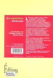 Les organisations ; état des savoirs - 4ème de couverture - Format classique