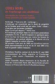 Codes noirs, de l'esclavage aux abolitions - 1ere ed. - 4ème de couverture - Format classique