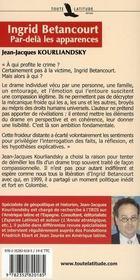 Ingrid Bétancourt ; par delà les apparences - 4ème de couverture - Format classique