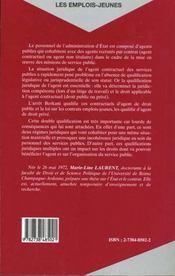 Les Emplois Jeunes ; Nouveaux Contractuels De L'Administration - 4ème de couverture - Format classique